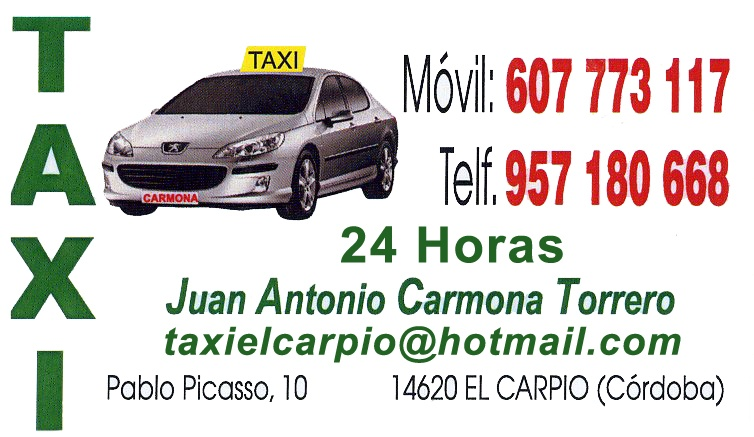 Anuncio de taxi de Juan Antonio Carmona