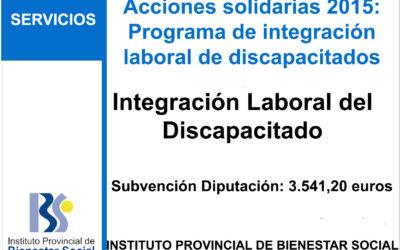 Subvención IPBS – Ayuda Integracion Laboral del Discapacitado 2015