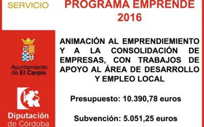 Subvención Diputación – Programa Emprende 2016