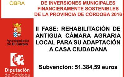 Subvención Diputación – Plan Provincial Extraordinario de Inversiones Municipales Financieramente Sostenibles 2016