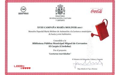 Diploma «XVIII Campaña María Moliner 2017» a B.P.M. «Cervantes» de El Carpio