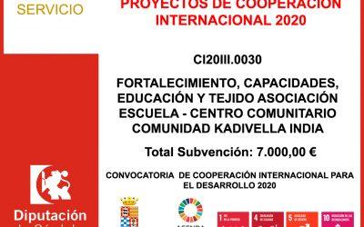 Subvención Diputación – PROYECTOS DE COOPERACIÓN INTERNACIONAL 2020