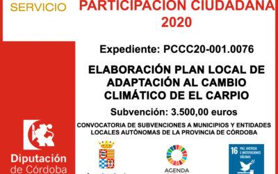 Subvención Diputación – PROYECTO DE PARTICIPACIÓN CIUDADANA 2020