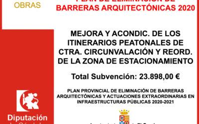 Subvención Diputación – PLAN DE ELIMINACIÓN DE BARRERAS ARQUITECTÓNICAS 2020-2021