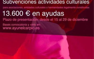 Bases de Convocatoria de concesión de Subvenciones en régimen de concurrencia competitiva de carácter cultural, del Ayuntamiento de El Carpio para el ejercicio 2020