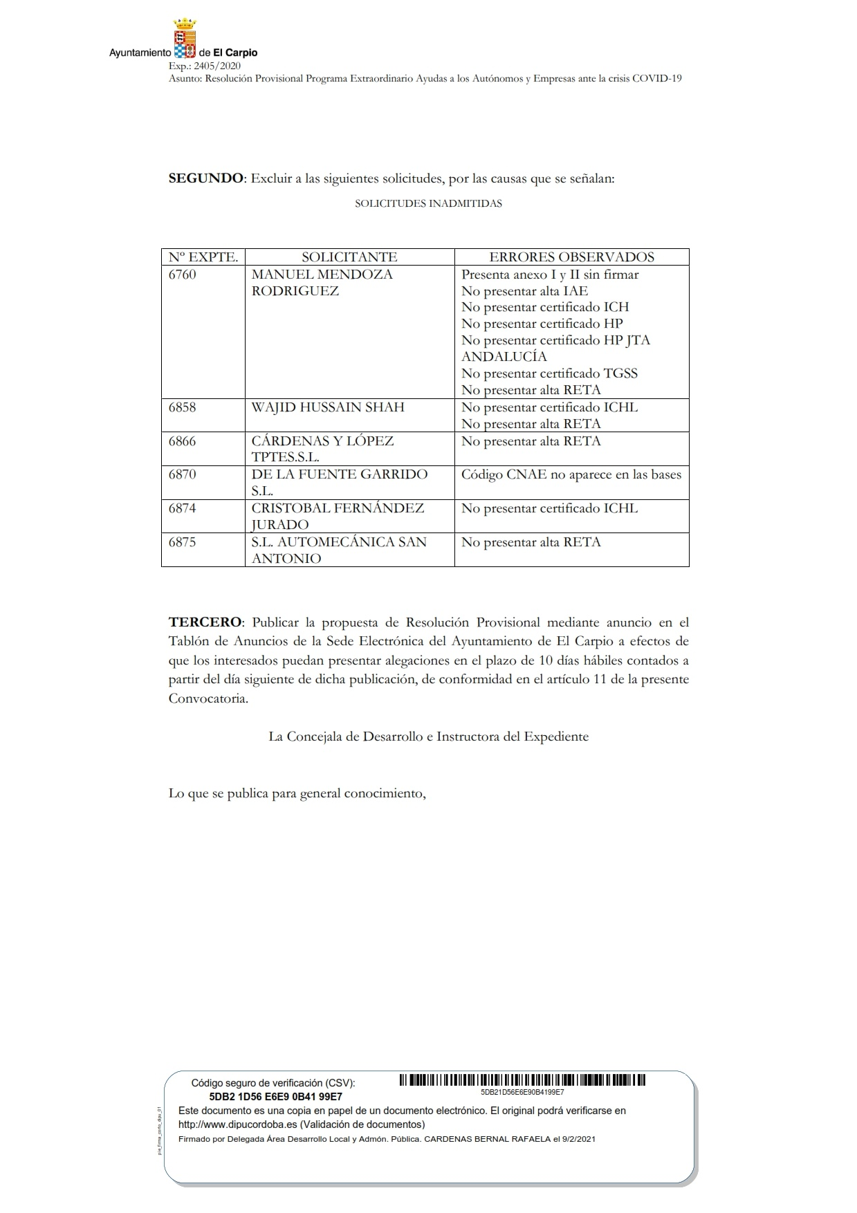 Convocatoria de Concesión de Ayudas para Autónomos y Micropymes para Reactivación de la Economía