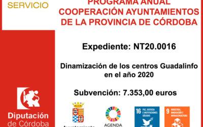 Subvención Diputación – DINAMIZACIÓN DE LOS CENTROS GUADALINFO 2020