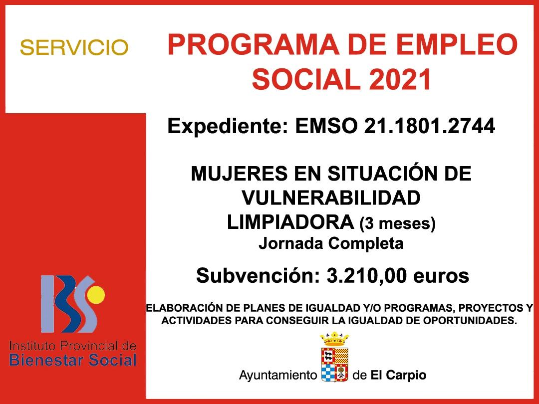 EMPLEO SOCIAL 2021 Mujeres Vulnerabilidad 3 meses