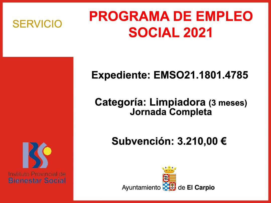 Subvenciones IPBS – PROGRAMA EMPLEO SOCIAL 2021