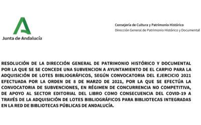La Biblioteca de El Carpio recibe 2.500 euros de la Junta
