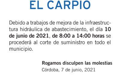 EMPROACSA – AVISO DE CORTE DE SUMINISTRO EL CARPIO para el jueves 10 de junio de 2021
