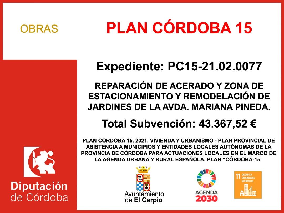 Subvención Diputación – PLAN CÓRDOBA 15 (2021)