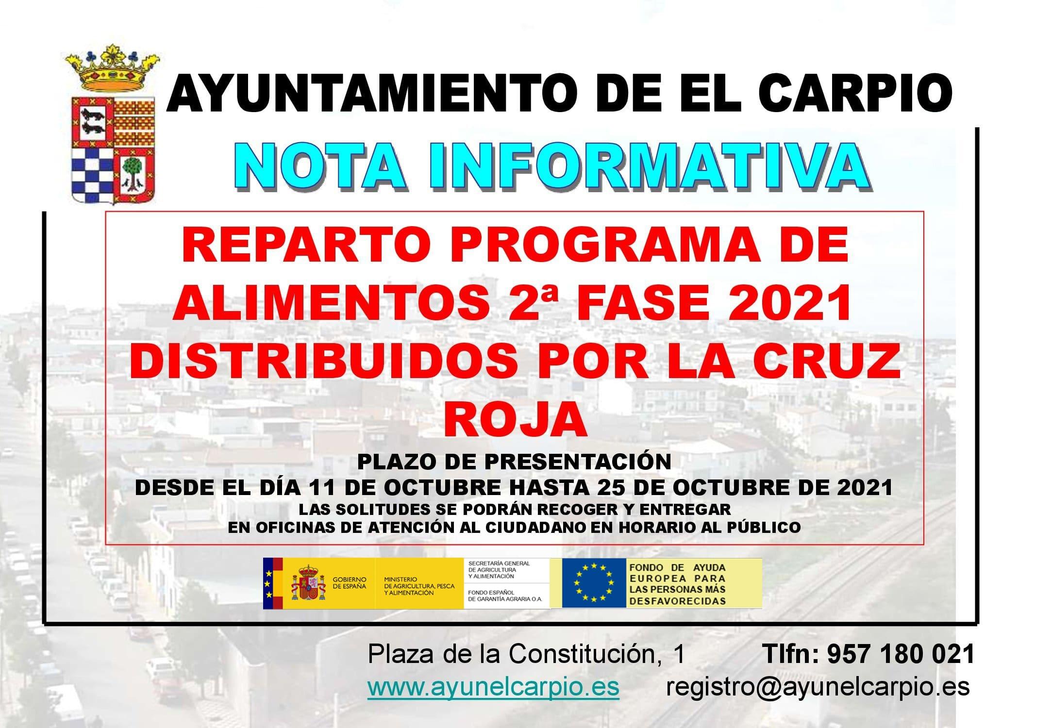 Nota Informativa - PROGRAMA REPARTO DE ALIMENTOS (Cruz Roja)